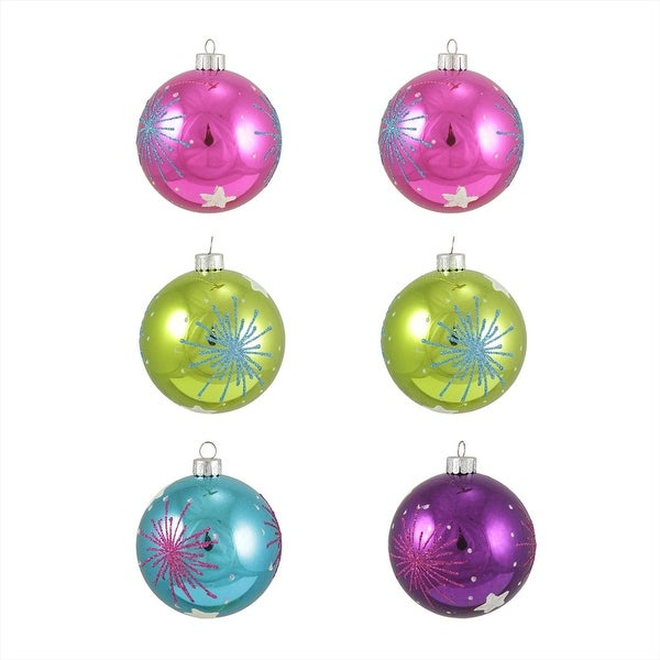 "6ct Colorful Starburst Shatterproof Christmas Ball Ornaments 3.25"" (80mm)"