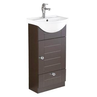 Small Single Sink Bathroom Vanity Cabinet White & Brown