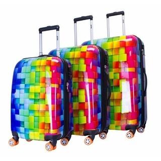 ATM Luggage Multi Color 3-D Rainbow Four Wheels 3 Pc Hardside Luggage Set - One size