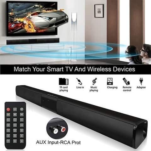 BS28B Wireless Bluetooth Soundbar Speaker TV Home Theater Soundbar Subwoofer with RCA Line and 3.5mm Cable