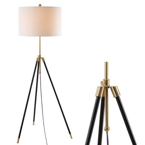 """Lucius 67"""" Adjustable Metal LED Floor Lamp,Black/Brass by JONATHAN Y - 67"""" H x 25.5"""" W x 25.5"""" D"""