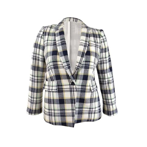Vince Camuto Womens Cotton Plaid-Print Single-Button Blazer (14, Pearl Ivory)