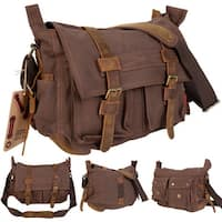 Costway Men's Vintage Canvas Leather School Military Shoulder Messenger Bag (Coffee)