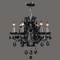 Worldwide Lighting W83117C20 Lyre 6-Light 1 Tier Candle Style Crystal Accent Chandelier - n/a