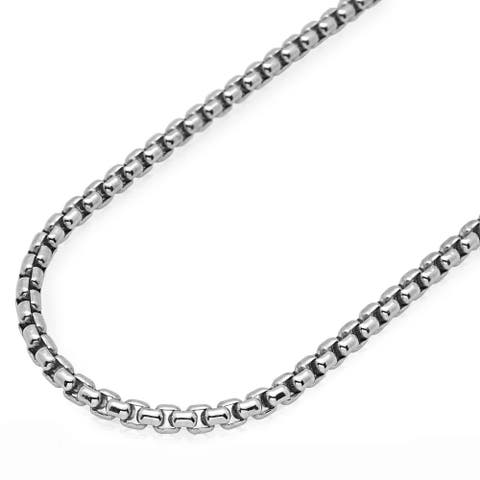 .925 Solid Sterling Silver 4MM Round Box Link .925 Rhodium Necklace Chain, Silver Chain for Men & Women, Made In Italy