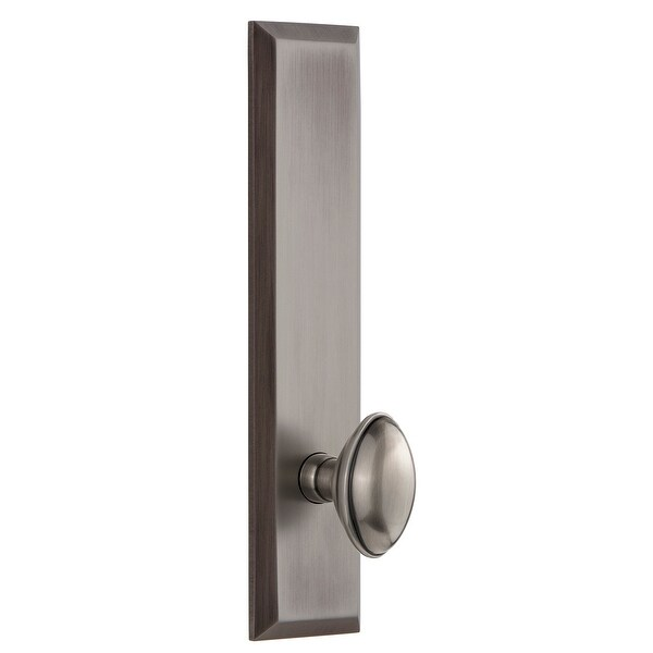 Grandeur FAVEDN_TP_PRV_234_LH Fifth Avenue Solid Brass Tall Plate Left Handed Privacy Door Knob Set with Eden Prairie Knob and
