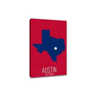 Austin, Texas - Capital Pride State Outline - 16x24 Gallery Wrapped Canvas Wall Art