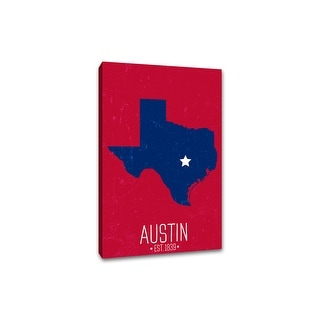 Austin, Texas - Capital Pride State Outline - 24x36 Gallery Wrapped Canvas Wall Art