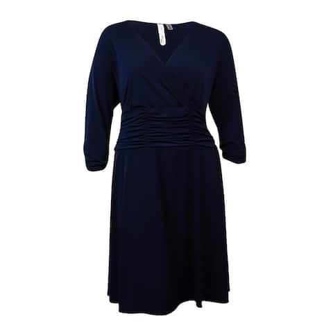 NY Collection Women's Plus Size Ruched Jersey V Dress