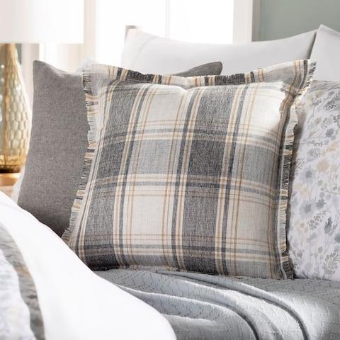 Johna Plaid Fringe Cotton Blend 22-inch Throw Pillow