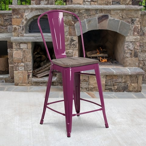 """24"""" High Metal Counter Height Stool with Back and Wood Seat - 17.75""""W x 22""""D x 40.25""""H"""