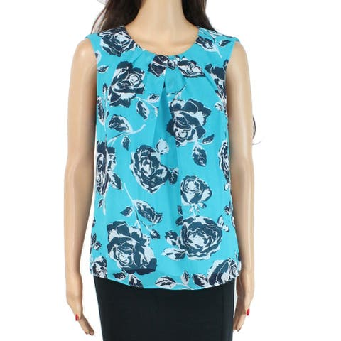 Jones York Women's Blouse True Green Size 6 Floral Pleated Neck