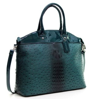 Dasein® Ostrich Faux Leather Large Satchel with Patent Trim