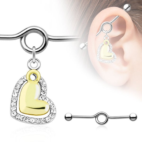 Heart Paved Clear Gems Gold IP Charm Dangle Industrial Barbell (Sold Individually)