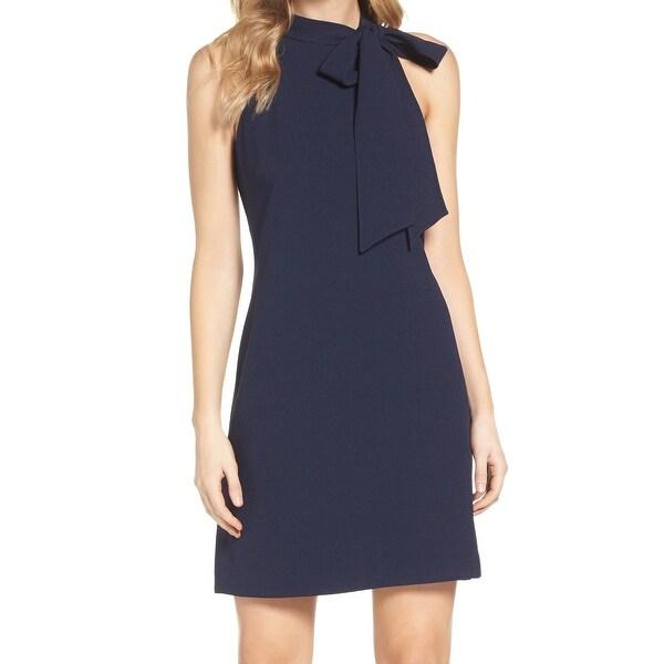 Vince Camuto Blue Crepe Halter Tie Neck Women Size 10 Shift Dress
