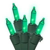 Set of 100 Teal Green Mini Christmas Lights - Green Wire