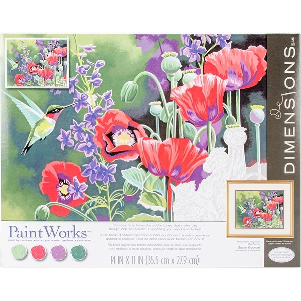"Paint Works Paint By Number Kit 14""X11""-Hummingbird & Poppies"