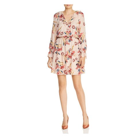 JOIE Womens Pink Floral Long Sleeve V Neck Short Sheath Dress Size L
