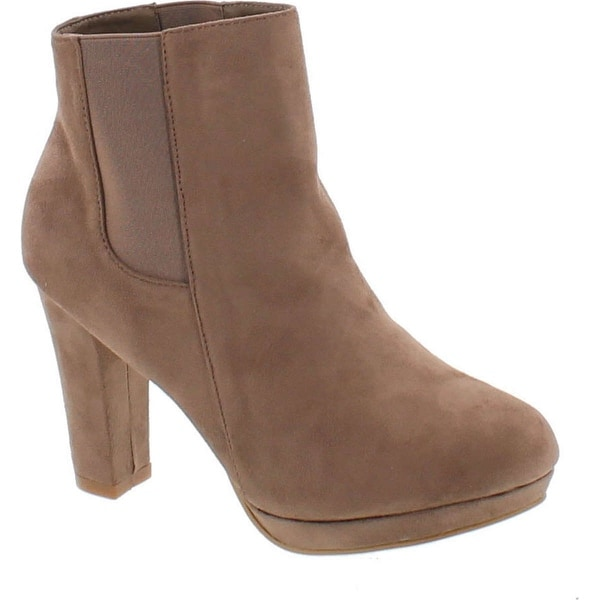 Bella Marie Kayla-11 Women's Almond Toe Platform Chunky Heel Chelsea Elasticized Panel Suede Ankle Bootie