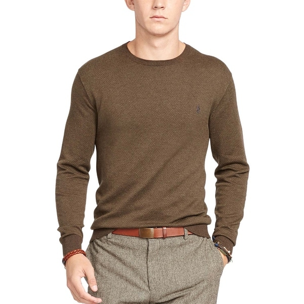 cd0c93f91ea2b Shop Polo Ralph Lauren Pima Cotton Herringbone Crewneck Sweater Olive Small  S - Free Shipping Today - Overstock - 18265953