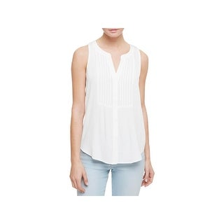 Sanctuary Womens Button-Down Top Pleated Sleeveless