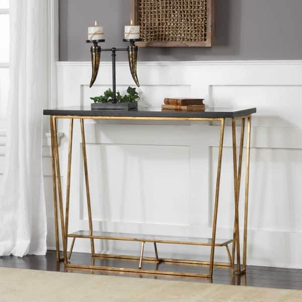 "Shop 30"" Agnes Black Granite Console Table - Free Shipping ..."