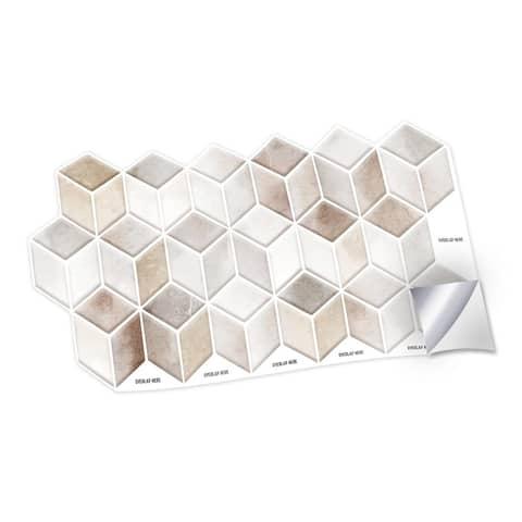 Walplus Beige Stone Hexacube Wall Peel and Stick Backsplash Tile Stickers