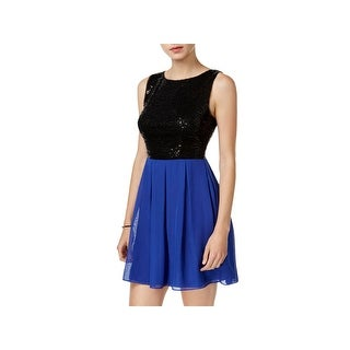 B. Darlin Womens Juniors Semi-Formal Dress Colorblock Sequined