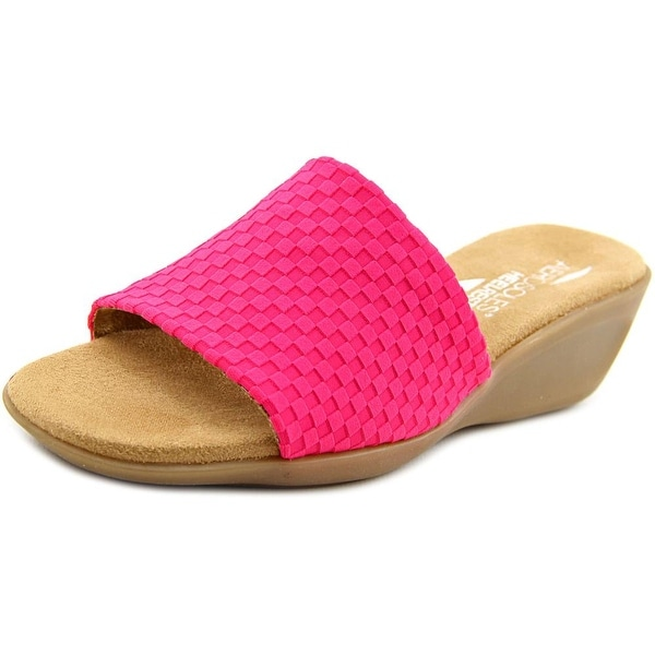 Aerosoles Badminton Women W Open Toe Canvas Pink Slides Sandal