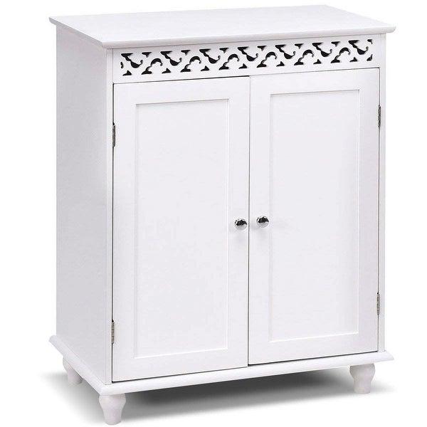 White Modern 2-Door Bathroom Storage Floor Cabinet