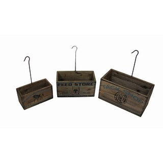 Set of 3 Vintage Look Nesting Tack Shop Planter Boxes with Hangers