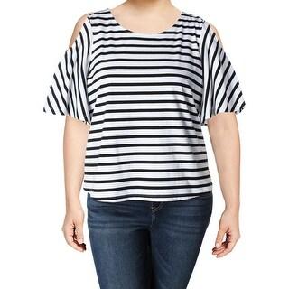 Lauren Ralph Lauren Womens Kelcey Casual Top Striped Cold Shoulder
