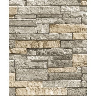 Graham and Brown 32-091 56 Square Foot - Ledgestone Grey - Non-Pasted Non-Woven Wallpaper
