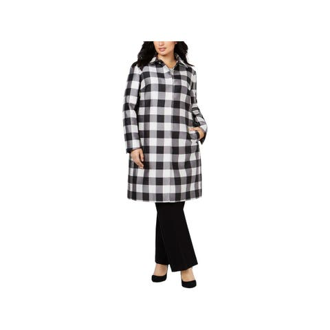 Anne Klein Womens Plus Dress Coat Fall Check Print