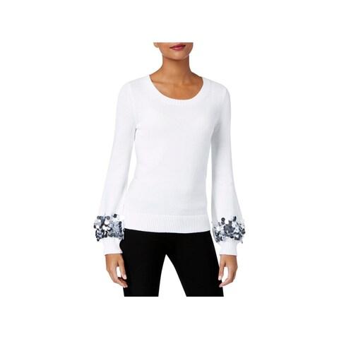MICHAEL Michael Kors Womens Crewneck Sweater Sequin-Cuff Long Sleeve