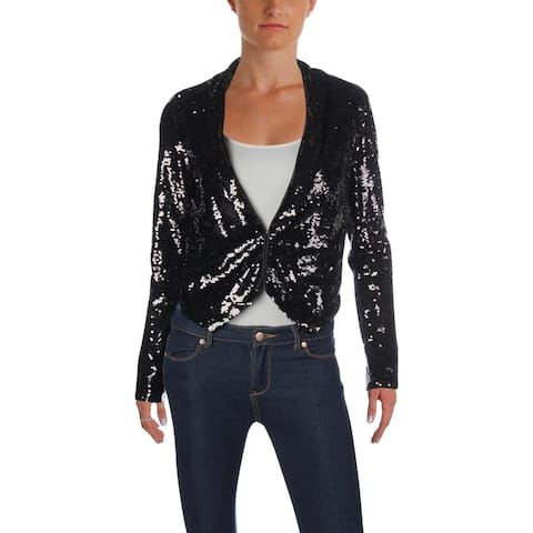 Aqua Womens Open-Front Blazer Sequined Cropped