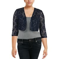 Alex Evenings Womens Shrug Lace Sequined
