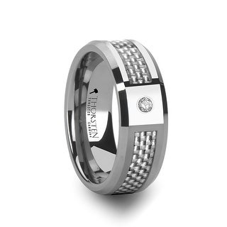 THORSTEN - ROYCE Tungsten Wedding Band with White Carbon Fiber and White Diamond Setting