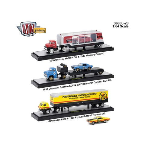 Auto Haulers Release 28, 3 Trucks Set 1/64 Diecast Models by M2 Machines