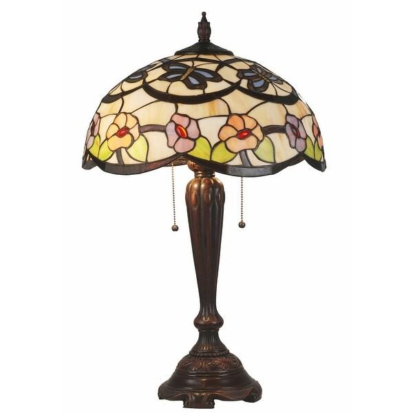 "25"" Tiffany Glass Shade Table Lamp"