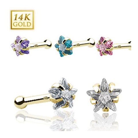 14 Karat Solid Yellow Gold Prong Star CZ Nose Stud Ring - 20 GA (Sold Ind.)