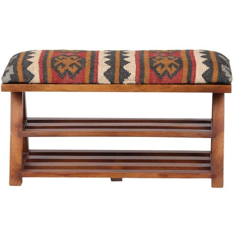 "Handmade Kilim Upholstered Wooden Storage Bench - 30"" W x 12.5"" L x 16"" H"