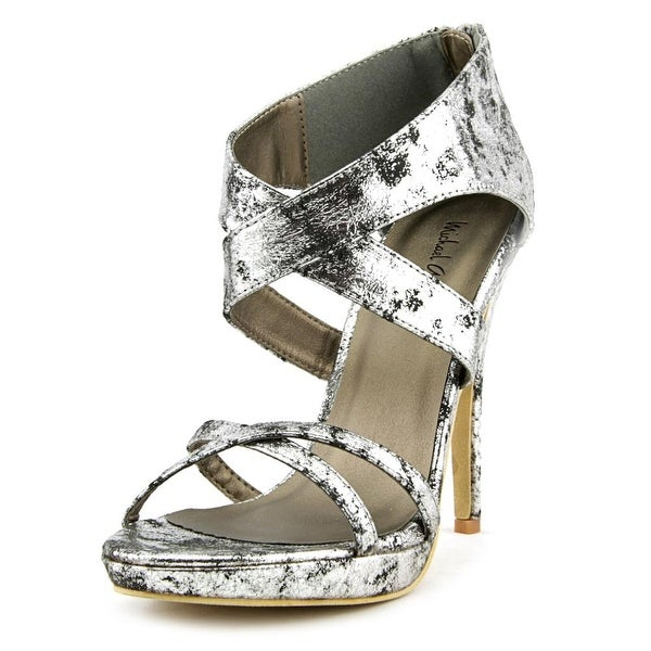 Michael Antonio Tamzah Women Open Toe Canvas Silver Platform Heel