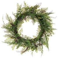 "Pack of 2 Decorative Artificial Fern Wreath Unlit  22"""