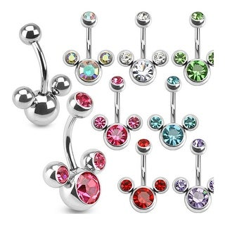 Triple Bubble Navel Belly Button Ring 316L Surgical Steel
