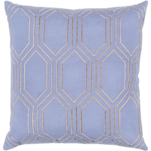 """20"""" Periwinkle Purple and Gray Geometric Square Linen Throw Pillow – Down Filler"""