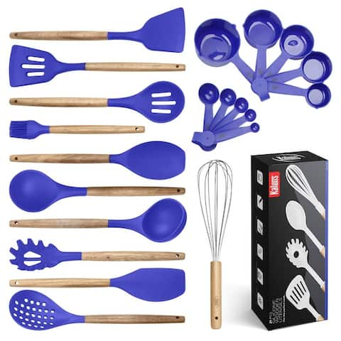 Kitchen Utensils Set, 21 Wood and Silicone Cooking Utensils