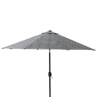 9' Black and White Elegant Night Market Umbrella with Hand Crank and