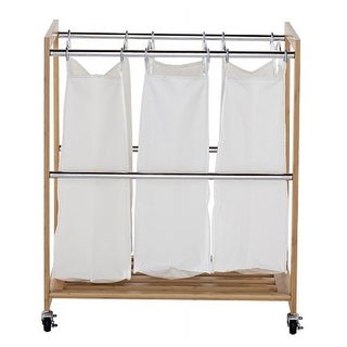 3 Bag Bamboo Laundry Cart with Chrome Poles - 32 x 27 x 17 in.