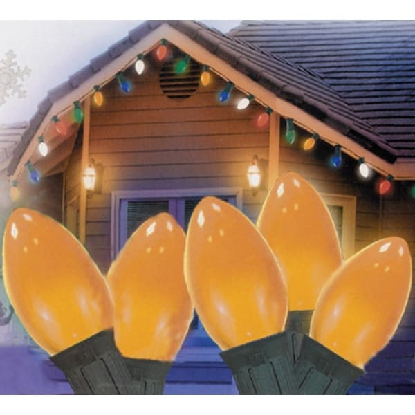 "Set of 25 Opaque Orange C7 Christmas Lights 12"" Bulb Spacing - Green Wire"